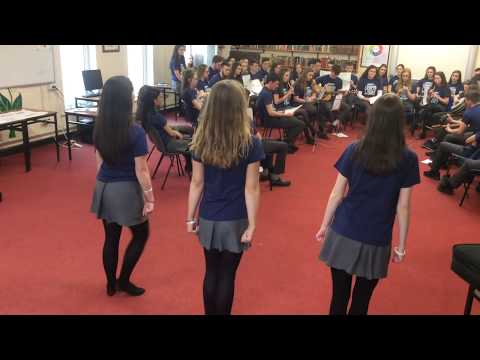 """AVS Students performing in the library for the """"Gaeilge 24"""" event"""