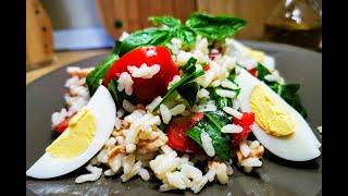 Свежа оризова салата - лека и диетична, вкусна и засищаща. Италианска кухня.