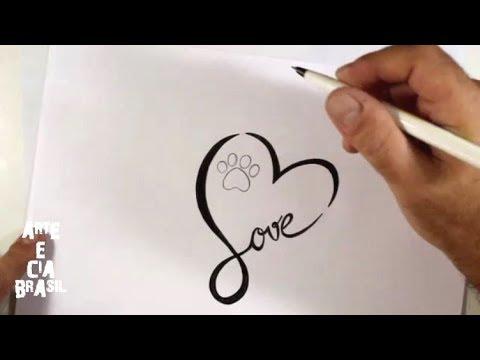Como Desenhar TATTOO LOVE Simples - Passo A Passo