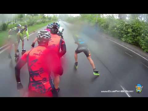Speed skating marathon under the rain HD