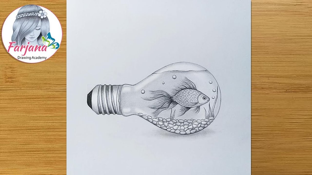 How to draw a Fish inside Bulb - step by step || Pencil Sketch || Bulb Aquarium || Art Video
