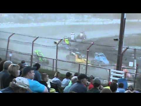 Bear Ridge Speedway - Dirt Midgets - 6-29-13 - Josh Sunn flips