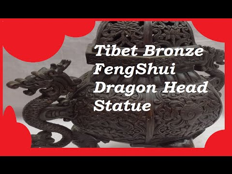 Handcrafted Tibet Bronze FengShui Dragon Head Statue Incense Burner