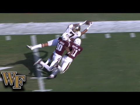 Wake Forest WR Scotty Washington Makes Diving Grab In Double Coverage