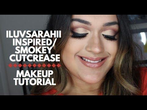 iluvsarahii inspired  smokey cut crease makeup tutorial