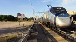 MBTA & High-Speed Amtrak Trains at Mansfield, MA