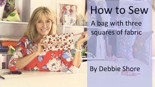 Coudre un sac d'embrayage, en utilisant seulement trois morceaux de tissu carré par Debbie Rive.