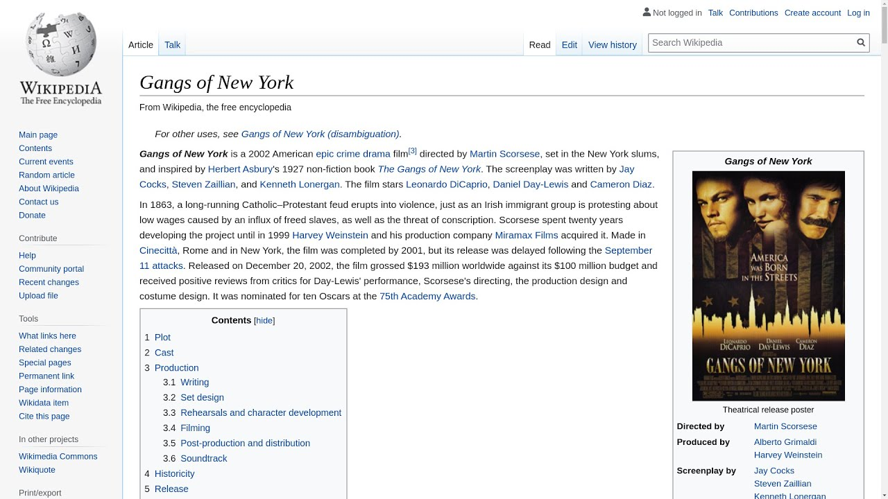 Gangs of New York Free Essay Example