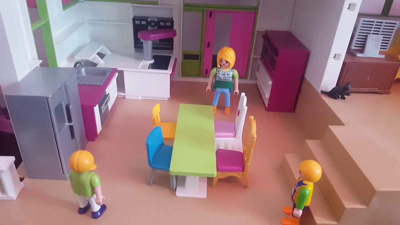 UNE JOURNÉE À LA MAISON vidéo pmaymobil, maison moderne Playmobil ...