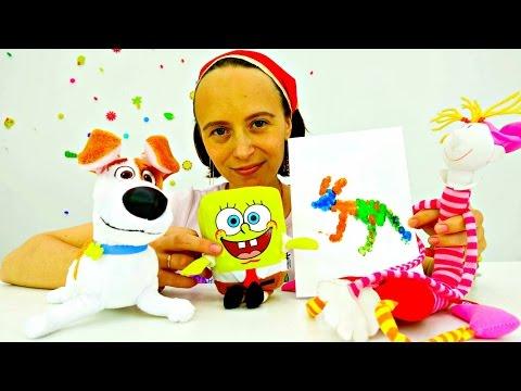 Поделки.Видео игрушки.ОТКРЫТКА своими руками на день рождения Макса.Губка Боб
