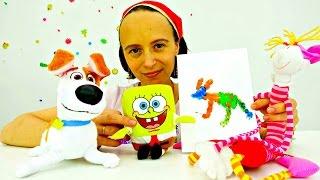 Поделки.Видео игрушки.ОТКРЫТКА своими руками на день рождения Макса.Губка Боб(Детский творческий канал