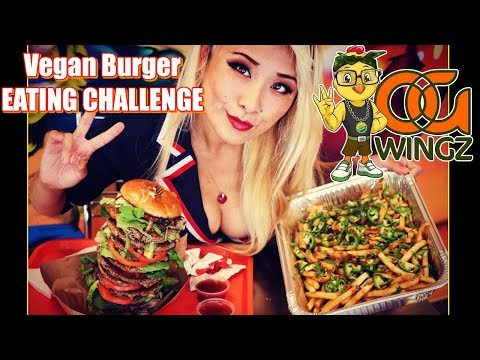 Impossible Vegan Burger Eating Challenge | OG Wingz | RainaisCrazy