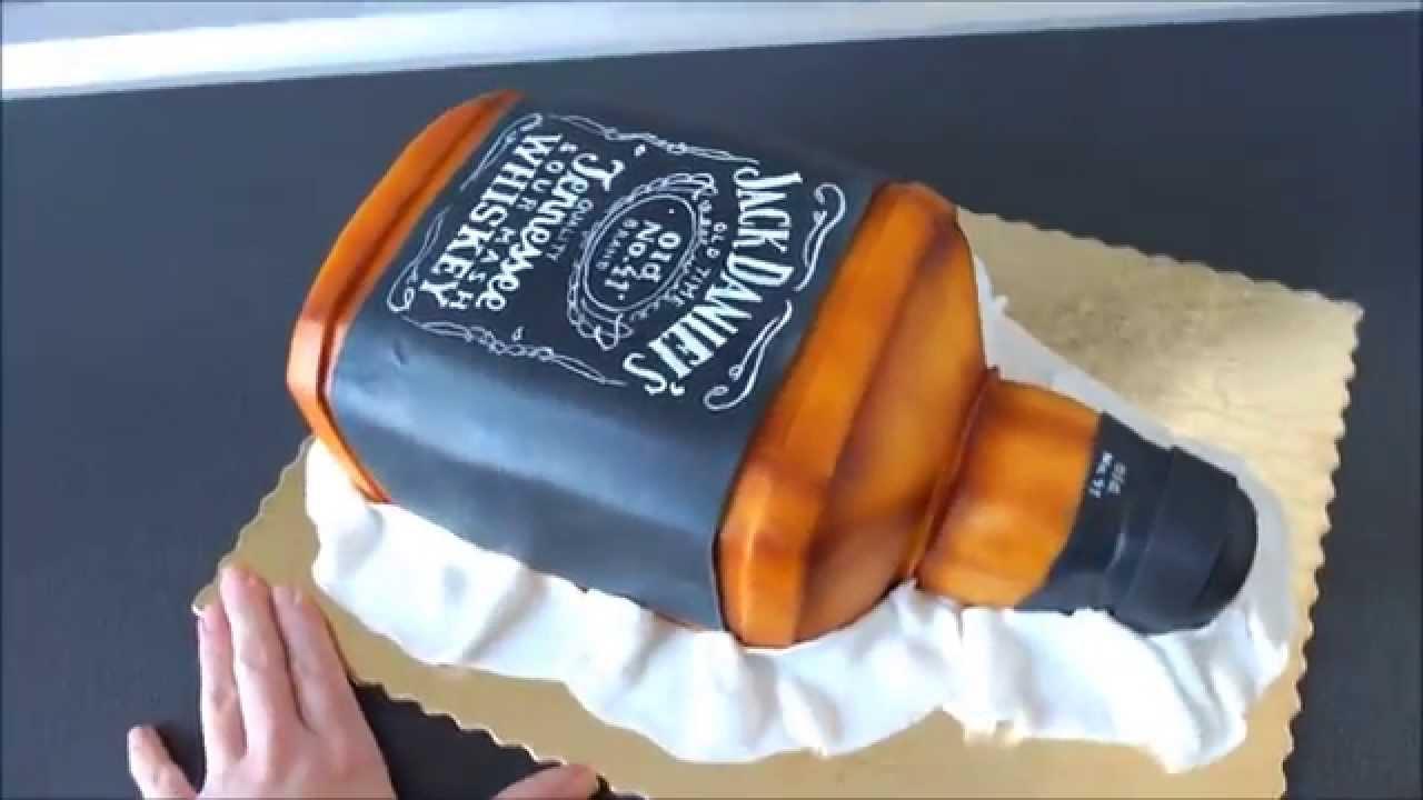 Jack Danielu0026#39;s bottle 3d cake / Tort butelka Jack Danielu0026#39;s - YouTube