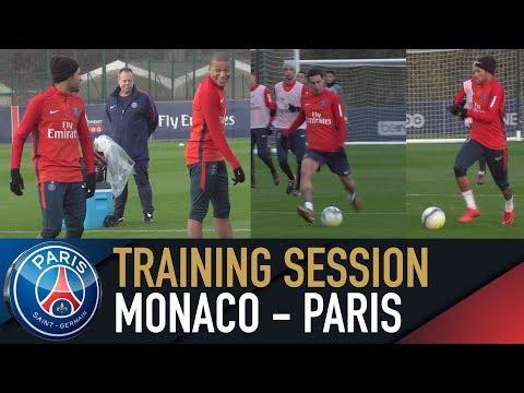 TRAINING SESSION - ENTRAINEMENT avant MONACO - PARIS with Neymar Jr, Kylian Mbappé, Edinson Cavani