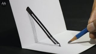 Very Easy !! How to Draw 3D PENCIL  - 3D Trick Art on Paper