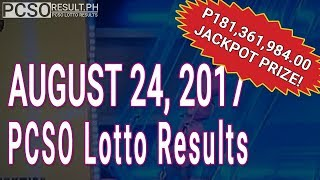PCSO Lotto Results Today August 24, 2017 (6/49, 6/42, 6D, Swertres & EZ2)