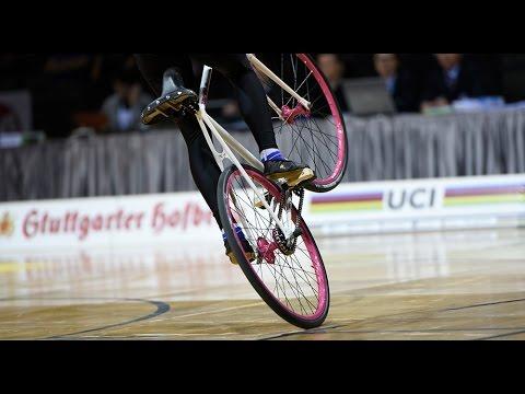 Slovakia's Nicole Frybortova and her artistic cycling bike