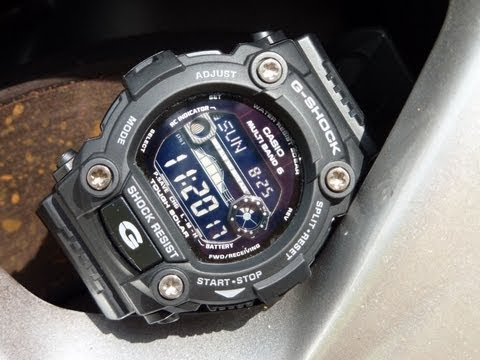 G-Shock GW-7900B-1 review: **Once you go black** My review of the Casio G-shock GW7900-B digital watch.  It is a large but lightweight watch that sits high on the wrist. It has an all black display, an auto light when you tilt your wrist, atomic time keeping via radio wave, solar powered, stopwatch, alarm, timer, moon phase and tide graph, world time and wings underneath the watch that help with stability and comfortability. Full specs below:   Full Specs: • Multi-Band Atomic Timekeeping (US, UK, Germany, Japan, China) • Receives time calibration radio signals which keep the displayed time accurate • Auto receive function up to 6 times per day (up to 5 times per day for China) • Manual receive function • Signal: US WWVB, UK MSF, Germany DCF77, Japan JJY40/JJY60, China BPC • Frequency: US 60kHz, UK 60kHz, Germany 77.5kHz, Japan 40/60kHz, BPC 68.5kHz • Tough Solar Power • Shock Resistant • 200M Water Resistant • Full Auto EL Backlight with Afterglow • Moon Data (moon age of the specific data, moon phase graph) • Tide Graph (tide level for specific date and time) • World Time • 31 times zones (48 cities + UTC), city code display, daylight saving on/off • 4 Daily Alarms and 1 Snooze Alarm • Hourly Time Signal  • Countdown Timer • Measuring unit: 1 second • Input range: 1 minute to 24 hours (1-minute increments and 1-hour increments) • 1/100 second stopwatch • Measuring capacity: 23:59'59.99