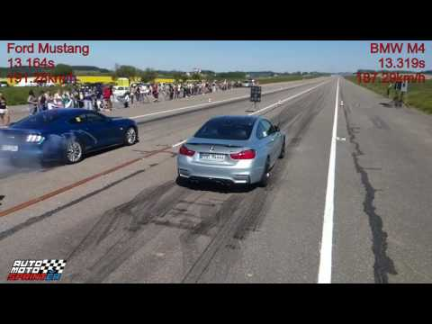 Ford Mustang vs. BMW M4 Drag Race 1/4M (402m), Kámen u Pacova, 27.5.2017, automotosprint.cz