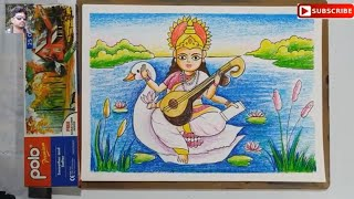 very easy saraswati thakur drawing for kids,maa saraswati drawing,saraswati puja special drawing