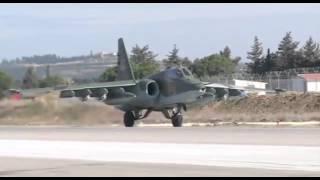 Боевая работа российских Су-25 с АвБ Хмеймим в сопровождении сирийских Миг 29