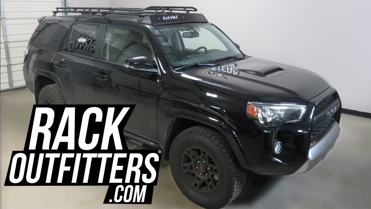 toyota 4runner 5th gen with gobi stealth rack with sunroof opening and multi light setup