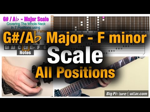Guitar Lesson: G#/Ab Major  (F minor) Scale in 7 positions / modes
