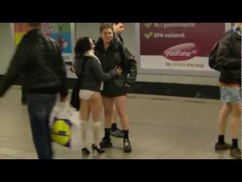 No pants day on Amsterdam metro at AMS sentral station