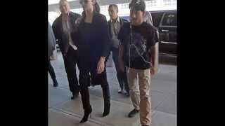 Angelina Jolie wore an all black ensemble on Saturday while arriving at JFK Airport in New York City