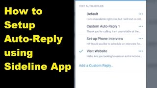 How to Setup Auto Reply on FREE Sideline Phone App