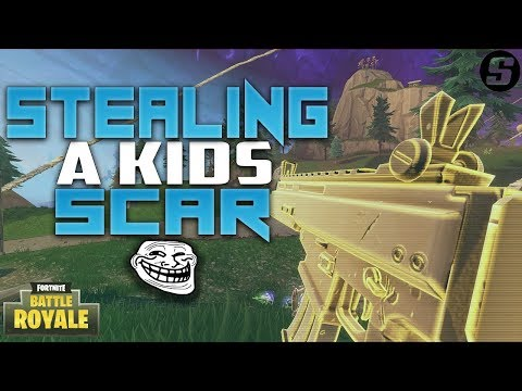 Stealing A Kids GOLD SCAR In Fortnite: Battle Royale (Fortnite Funny Trolling)