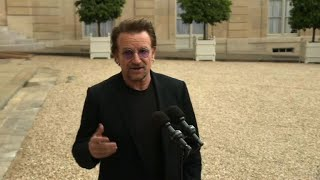 "U2 frontman Bono meets French President for ""ONE"" NGO"