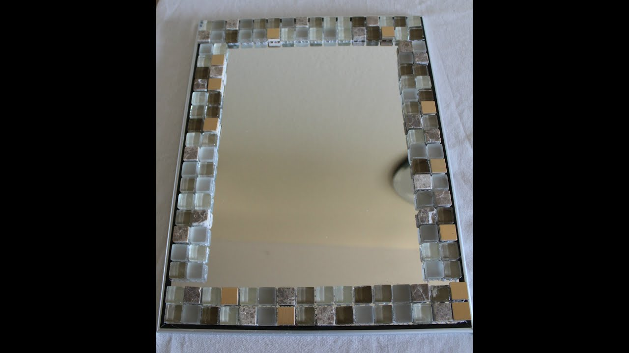 Diy home decor glass tile mirror frame yolanda soto for Miroir youtubeuse