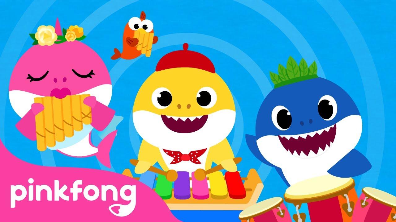 Banda Tubarão | Cante junto com o Bebê Tubarão | Pinkfong Canções para Crianças