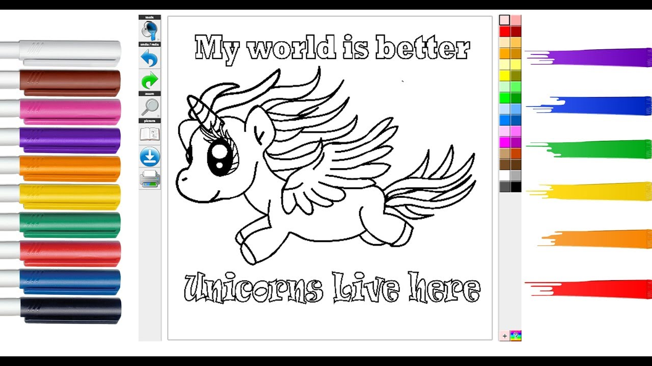Coloring Page Unicorn for Kids and Children| DIY Printable ...