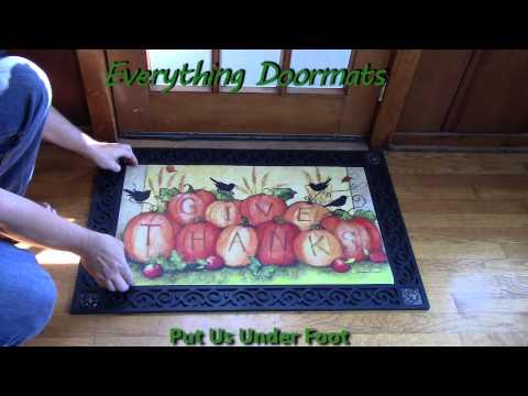 Give Thanks Scarecrow MatMates Insert Doormat - 18 x 30