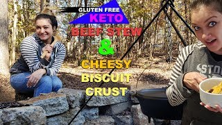 Keto Beef Stew & Cheesy Biscuit Crust - Cowboy Style
