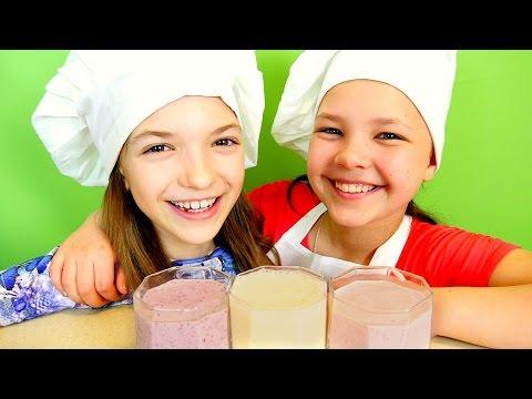 Готовим с Настей и Светой! Цветные МОЛОЧНЫЕ КОКТЕЙЛИ с Мороженым! Видео Рецепты для детей.