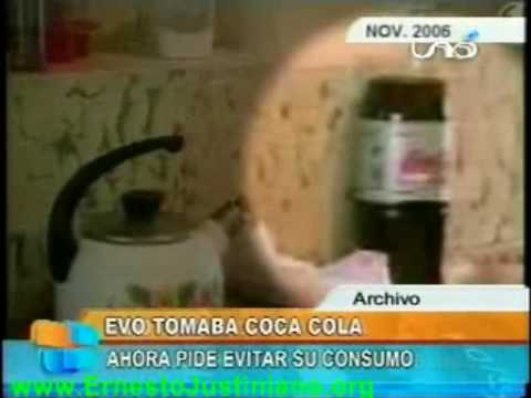 Esta en video,  Evo morales tomaba Coca Cola   y ahora hipocritamente pide evitar su consumo.