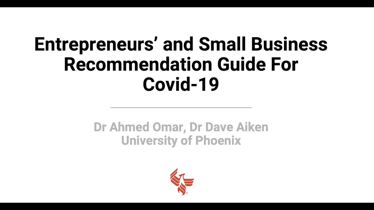 Entrepreneurs' and Small Business Recommendation Guide for Covid-19