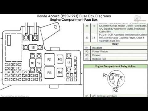 [SCHEMATICS_48YU]  Honda Accord (1990-1993) Fuse Box Diagrams - YouTube | 94 Honda Accord Fuse Diagram |  | YouTube