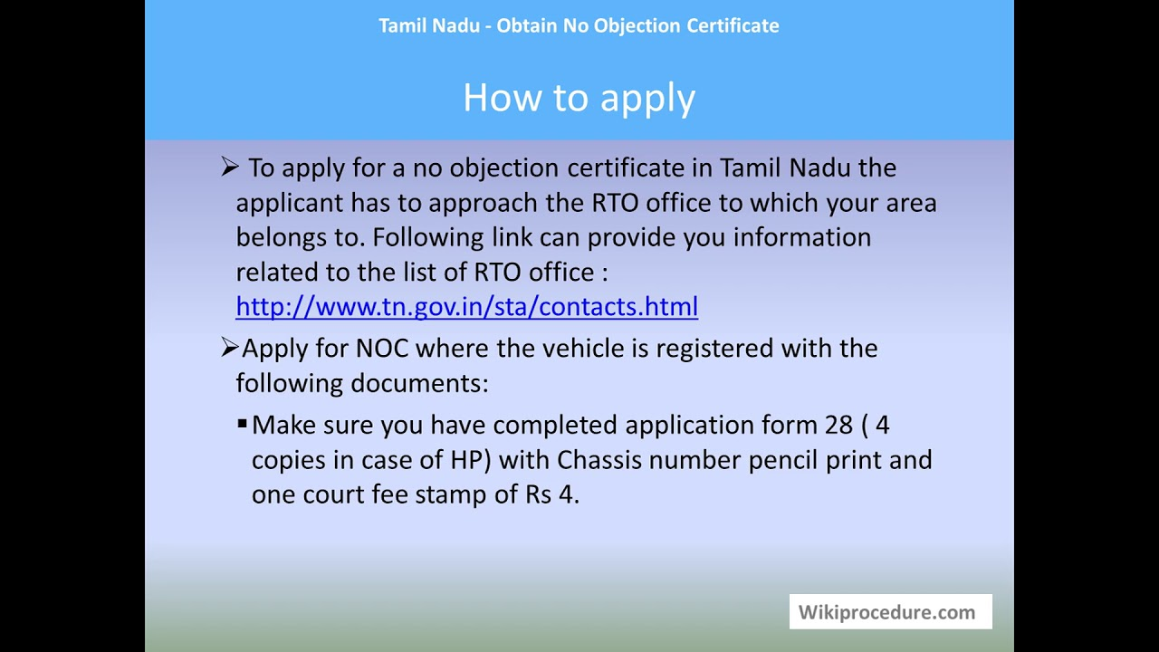 Chennai - Obtain No Objection Certificate