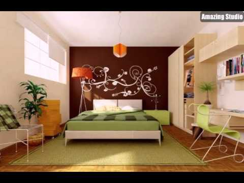 Grün Braun Orange Modern Schlafzimmer - YouTube