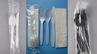 disposable plastic cutlery sets wrapping machine flowpack packing fork spoon knife