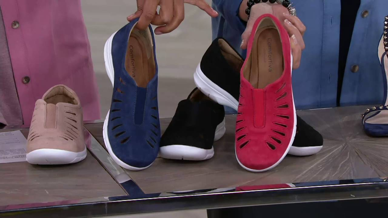 f938b8f43df Comfortiva by Softspots Slip-on Sneakers- Tinsley on QVC - YouTube