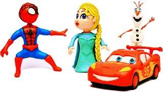 Homem-Aranha dirige o Relâmpago Marquinhos e conhece a Princesa Elsa, de Frozen, da Disney!