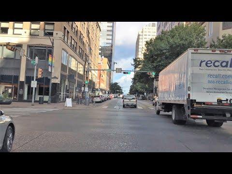 Driving Downtown - Austin's Nightlift Street - Austin Texas USA