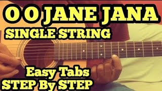 Oh Oh Jane Jana Guitar Tabs/Lead (intro) Lesson on Single String for Beginners | Guitar in Hindi