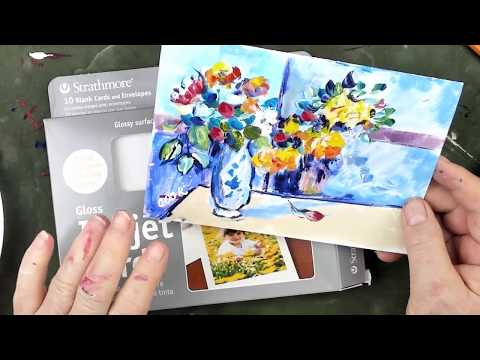 How to Use Acrylics as Watercolors to Paint Flowers in a Vase by Cezanne on a Card