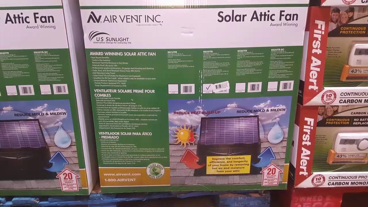 Costco Solar Attic Fan 299